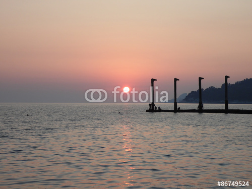 pink sunset at the black sea